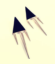 Geometric Black Triangle Spikes Earrings - Vintage Gold Jewellery- Geo Triangles