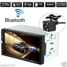 "7"" Double Din In Dash Bluetooth Touch Car Stereo HD Camera MP5 Radio FM USB 2017"