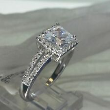 PRINCESS CUT HALO SOLITAIRE with ACCENTS ENGAGEMENT RING (925) SILVER... SIZE  8