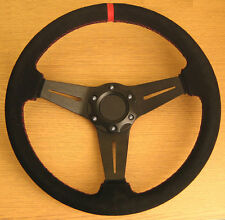 Genuine Leather Sports Steering Wheel Red Stitch Suede Finish - 350mm PCD 70mm