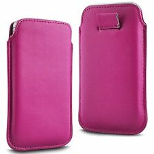 For Panasonic Eluga Turbo - Pink PU Leather Pull Tab Case Cover Pouch