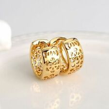 18k Yellow Gold Filled Earrings 14MM Women's flower in Hoop 6mm GF Charm Jewelry