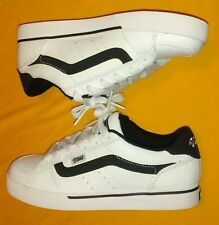 VANS Women's Shoes 6 Mallorie Low-Top White Leather Black Stripe Skate New NWOB