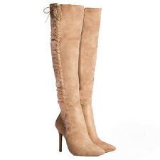 WOMENS LADIES FAUX FUR OVER THE KNEE HIGH HEEL LACE THIGH BOOTS SHOES SIZE 2-7