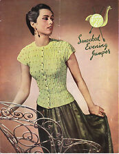 VINTAGE 1950'S KNITTING PATTERN SMOCKED EVENING JUMPER