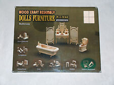 NEW Wood Craft Assembly 1/12 Scale Doll House Furniture for Bathroom NIP Barbie