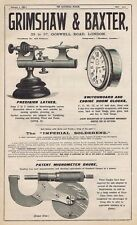 GRIMSHAW & BAXTER London;  Precision Lathes - Antique Engineering Advert 1904