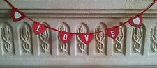 New Mini Bunting Love Heart Garland Red & White  Wooden LOVE Hearts 54cms Long