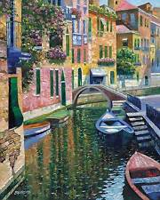 Howard Behrens Romantic Canal Venice Europe Boats Canvas 29x35