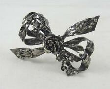 Vintage HOBE Signed Sterling Silver Ribbon Bouquet w/ Floral Flowers Pin Brooch