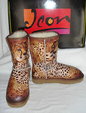 "ICON ""2 Cougars/Cheetah"" Leather & Shearling Boots ~ Size 5 (Fits 4-5) STUNNING!"