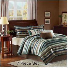 Southwest Aztec Comforter Set Queen 7PC Blue Brown Bedding Native American Decor