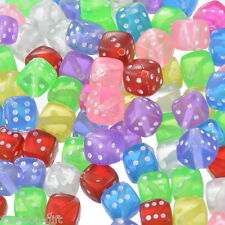 100 Mixed Transparent Acrylic Dice Spacer Beads 9x9mm