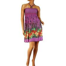Silky Stretch Hawaii Floral Halter Summer Short Tube Top Sundress Dress Purple L