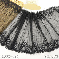 1 Yard Black Scalloped Stretch Lace Trim For DIY Craft Lingerie Wide 9 1/2""