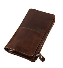 Genuine Leather long wallet with removable zipper pocket Cowhide Bifold clutch