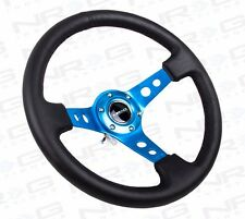 "NRG Steering Wheel Black Leather & Blue Spoke 350mm 3"" DEEP DISH"