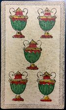 Five of Cups Chalice c1820 Antique Tarot Playing Cards Painted Italy Single +COA