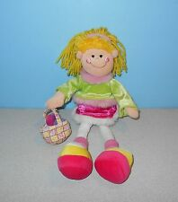 "12"" Easter Stuffed Plush Blonde Egg Hunt Rag Doll Ragdoll Plushie Pink Skirt"