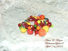 Artisan Arturo E.Reyna RED BAKELITE LINKS VINTAGE BUTTONS FRUIT CHARMS BRACELET