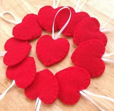 10 red heart ornaments, Valentines Day decorations, red felt heart ornies