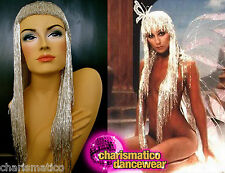 Charismatico silver DRAG QUEEN Bead Gay Cabaret Fancy Cher Bead Wig