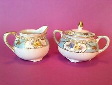 Noritake Footed Sugar Bowl And Creamer - Hand Painted Light Blue - Gold Moriage
