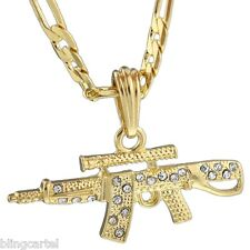 "AK-47 Iced-Out Gun Pendant Rifle Gold Plated Necklace 24"" Hip Hop Figaro Chain"