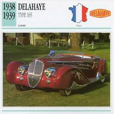 1938-1939 DELAHAYE Type 165 Classic Car Photograph / Information Maxi Card