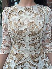 Wedding Beige Appliqué Cut out Crochet Lace Dress Sz XS S 2 38 Valentino Style