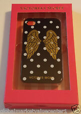 Victoria's Secret Black White Polka Dot Gold Angel Wings Case Cover iPhone 4/4s