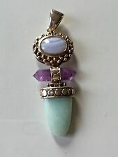 925 WK Sterling Silver Pendant with Chalcedony & Amethyst, green gemstone