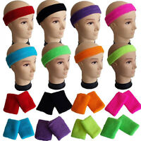 Neon Headband Wristbands Sweatbands Or Both 1980s 80s Fancy Dress Costume