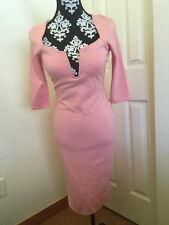 NWOT HOT MIAMI STYLES PINK Plunging V Neck Midi Padded DRESS SZ M