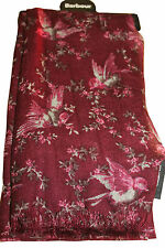 Barbour Womens Vintage Bird Print Stole / Scarf Wrap Wine Red