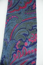 """Etro Bold Ornate Paisley Purple Blue Pink 100% Silk Neck Tie Made in USA 3.5"""""""