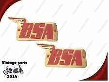 NEW PAIR BRASS MADE RED PETROL FUEL TANK LOGO BADGE SET FOR BSA M20 MOTORCYCLE