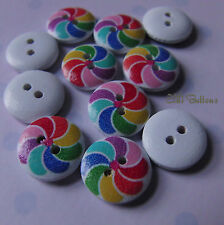 10 x Rainbow Swirl wooden buttons, flatback, 13mm
