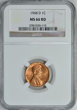 1968-D LINCOLN MEMORIAL CENT 1c NGC MS66RD