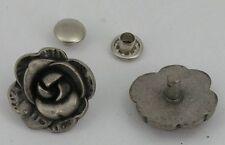 10 Strassnieten Ziernieten Nieten Rose 18mm ALTSILBER 06.52