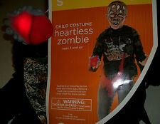 Heartless Zombie boys size large 10-12 Halloween Costume Scary heart lights up