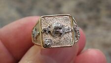 VINTAGE MENS MASONIC SHRINERS 10K SOLID YELLOW GOLD DIAMOND RING SIZE 9 COMPASS