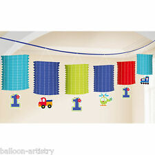 3.65m All Aboard Blue Boy's Happy 1st Birthday Party Paper Lantern Garland