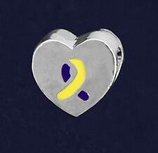 Down Syndrome Awareness Charm Yellow Blue Chunky Heart Ribbon Large Hole Bead