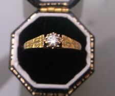 Women's 9ct Gold Diamond Solitaire Ring Size N Weight 1.4g Stamped