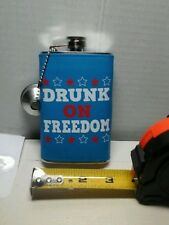flask drunk on freedom stainless steel novelty drinking  accessory 5oz