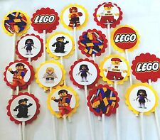 30 LEGO  Cupcake Toppers Birthday Party Favors, Baby Shower decoration 30