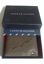 Tommy Hilfiger Bifold Leather Wallet Brown Men Boys Gift Casual Partywear ET4784