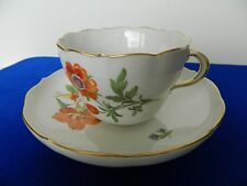 Meissen White Porcelain Hand Painted Floral Motif Tee Cup & Saucer. Circa 1790's