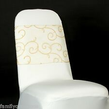 FLOCKED ORGANZA CHAIR SASH BOWS COVER FOR WEDDING, ANNIVERSARY, PARTY